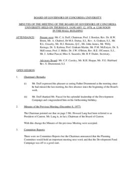 Minutes of the Meeting of the Board of Governors of Concordia University