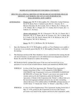 Minutes of a Special Meeting of the Board of Governors