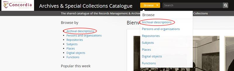 browse archival descriptions